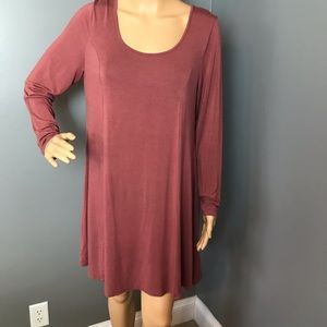 Charlotte Russe Dress Long Sleeves Burgundy Size L